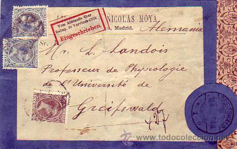 ALFONSO XIII PELON EN CARTULINA CIRCULADA 1905 CORREO CERTIFICADO MADRID A ALEMANIA. LLEGADA. (Sellos - Historia Postal - Sello Español - Sobres Circulados)