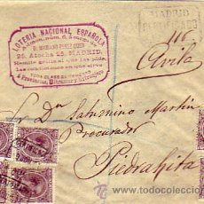 Sellos: CARTA CIRCULADA 1894 CORREO CERTIFICADO DE MADRID A PIEDRAHITA (AVILA). FRANQUEO ALFONSO XIII PELON. Lote 22939788
