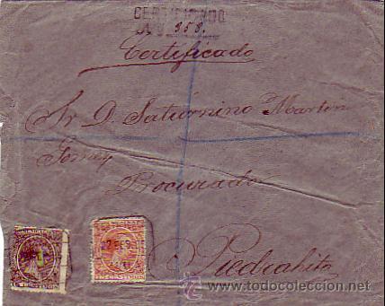 CARTA CIRCULADA 1895 CORREO CERTIFICADO DE AVILA A PIEDRAHITA (AVILA). FRANQUEO PELON 75 CTS. (Sellos - Historia Postal - Sello Español - Sobres Circulados)