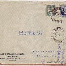 Sellos: RARO FRANQUEO MIXTO REPUBLICA ESPAÑOLA (EDIFIL 688) Y ELP CANARIAS (EDIFIL 26) EN CARTA 1937 CON C.M. Lote 24963290