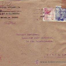 Sellos: PERFORACION ELZABURU SELLOS FRANCO Y EL CID EN CARTA CIRCULADA MADRID-PARIS. CENSURA ALEMANA Y ESPAÑ. Lote 22690809