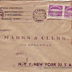 Sellos: PERFORACION ELZABURU DOS SELLOS AÑO SANTO EN CARTA CIRCULADA 1943 MADRID - USA. DOBLE CENSURA.. Lote 22671498