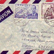 Sellos: DE LA CIERVA Y GENERAL FRANCO EN CARTA CIRCULADA 1950 DE SANTANDER A ESTADOS UNIDOS. MPM.. Lote 9038895