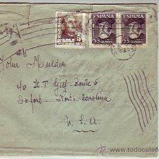 Sellos: HERNAN CORTES (PAREJA) Y FRANCO CARTA CIRCULADA 1951 LERIDA-USA. MATASELLOS DEFORMADO Y LLEGADA. MPM. Lote 9050214