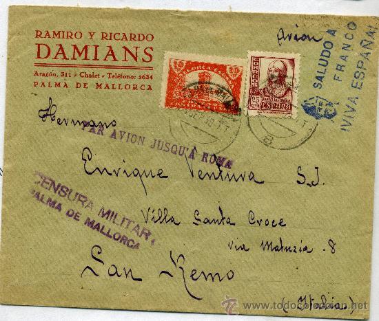 SOBRE CON CENSURA MILITAR PALMA DE MALLORCA (Sellos - Historia Postal - Sello Español - Sobres Circulados)