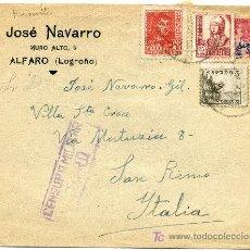Sellos: SOBRE CON CENSURA MILITAR,ALFARO, LOGROÑO. Lote 23267057
