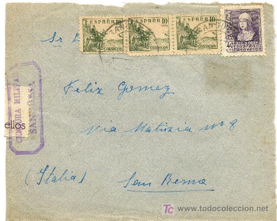SOBRE CON CENSURA MILITAR DE SANGUESA, NAVARRA (Sellos - Historia Postal - Sello Español - Sobres Circulados)