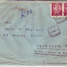 Sellos: VII CENTENARIO UNIVERSIDAD SALAMANCA (PAREJA) EN CERTIFICADO 1953 DE LERIDA A U.S.A. LLEGADA. MPM.. Lote 9073929