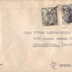 Sellos: GENERAL FRANCO EN CARTA COMERCIAL (SUDENTA) CIRCULADA 1945 BARCELONA-USA. MARCA TINTA POR AVION. MPM. Lote 9136405