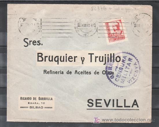 .350 SOBRE BILBAO A SEVILLA, FRANQUEO 823 VARIEDAD DE TAMAÑO, CENSURA B-61-2 EN VIOLETA (Sellos - Historia Postal - Sello Español - Sobres Circulados)