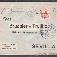 Sellos: .350 SOBRE BILBAO A SEVILLA, FRANQUEO 823 VARIEDAD DE TAMAÑO, CENSURA B-61-2 EN VIOLETA. Lote 10327581