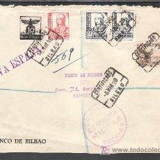 Sellos - .351 FRONTAL BILBAO A ZARAGOZA, FRANQUEO 816, 823, 825(PAREJA) Y AUXILIO INVIERNO G 5 MATASELLADO + - 10327579