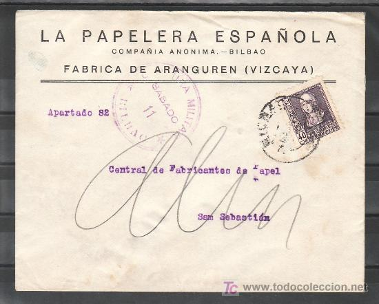 .359 SOBRE BILBAO A SAN SEBASTIAN, FRANQUEO 858, CENSURA B-61-49 (SABADO 11) EN VIOLETA Y AL DORSO + (Sellos - Historia Postal - Sello Español - Sobres Circulados)