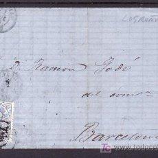 Sellos: .387 CARTA LOGROÑO A BARCELONA, FRANQUEO 121 MATASELLADO CON FECHADOR TIPO II DE PALO RECTO. Lote 11527359