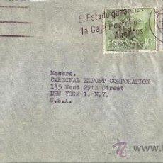 Sellos: VELAZQUEZ 10 PESETAS GENERAL FRANCO Y AVIACION EN CARTA CIRCULADA 1962 BARCELONA A USA. RODILLO. MPM. Lote 9214190