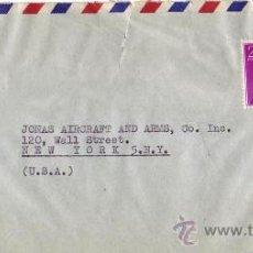 Sellos: CARLOS I Y GENERAL FRANCO EN CARTA COMERCIAL (AVIATEC) CIRCULADA CORREO AEREO 1958 MADRID A USA. MPM. Lote 9270250