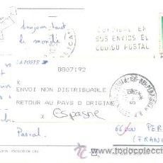 Sellos: TARJETA CIRCULADA DESDE BENIDORM (ALICANTE) A FRANCIA Y DEVUELTA POR DESCONOCIDO, VER MARCAS. Lote 9333063