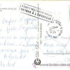 Sellos: TARJETA CIRCULADA DESDE EL ARENAL (BALEARES) A FRANCIA Y DEVUELTA POR DESCONOCIDO, VER MARCAS. Lote 9333095
