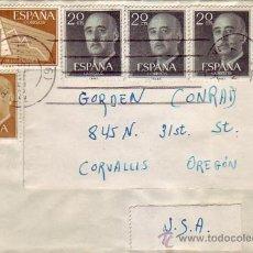 Sellos: GENERAL FRANCO Y ESTADISTICA CARTA CIRCULADA 1957 BARCELONA-USA. MATASELLOS MUDO CINCO LINEAS. MPM.. Lote 9363566