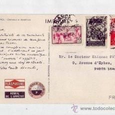 Sellos: MARRUECOS ESPAÑOL: TARJETA COMERCIAL PLASMARINE CIRCULADA 1953 DE LARACHE A FRANCIA. CAMELLOS.. Lote 22752559