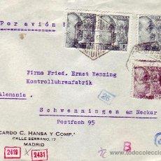 Sellos: GENERAL FRANCO DENTADO DESPLAZADO EN CARTA CORREO AEREO 1943 MADRID-ALEMANIA. DOBLE CENSURA. RARA.. Lote 25248991