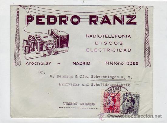 ALFONSO XIII TIPO VAQUER DE PERFIL EN CARTA COMERCIAL (PEDRO RANZ) CIRCULADA 1931 MADRID-ALEMANIA. (Sellos - Historia Postal - Sello Español - Sobres Circulados)