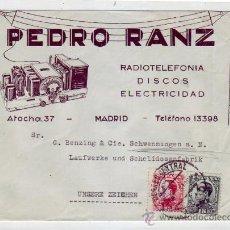Sellos: ALFONSO XIII TIPO VAQUER DE PERFIL EN CARTA COMERCIAL (PEDRO RANZ) CIRCULADA 1931 MADRID-ALEMANIA.. Lote 9561850