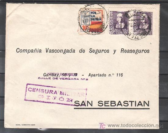 .487 SOBRE GIJON A SAN SEBASTIAN, FRANQUEO 858 (PAREJA) Y LOCAL G86 MATASELLADOS EN ANVERSO EL + (Sellos - Historia Postal - Sello Español - Sobres Circulados)