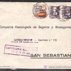 Sellos: .487 SOBRE GIJON A SAN SEBASTIAN, FRANQUEO 858 (PAREJA) Y LOCAL G86 MATASELLADOS EN ANVERSO EL +. Lote 10481853