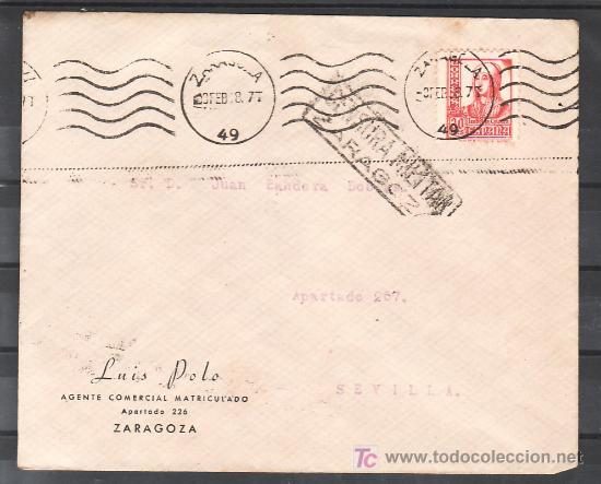 .499 SOBRE ZARAGOZA A SEVILLA, FRANQUEO 823, MATASELLO RODILLO LINEAS ONDULADAS TIPO 19 CATALOGO + (Sellos - Historia Postal - Sello Español - Sobres Circulados)