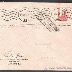 Sellos: .499 SOBRE ZARAGOZA A SEVILLA, FRANQUEO 823, MATASELLO RODILLO LINEAS ONDULADAS TIPO 19 CATALOGO +. Lote 10780291