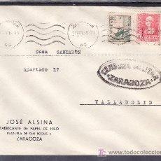 Sellos: .502 SOBRE ZARAGOZA A VALLADOLID, FRANQUEO 817 Y 857, CENSURA Z-7-6A EN NEGRO, AL DORSO PRECIOSA +. Lote 10780297
