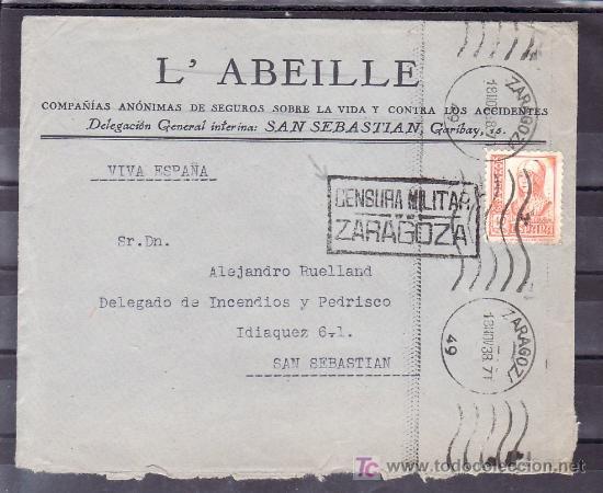 .506 SOBRE ZARAGOZA A SAN SEBASTIAN, FRANQUEO 824, CENSURA SIN CATALOGAR, SIMILAR A LA Z-7-12A EN + (Sellos - Historia Postal - Sello Español - Sobres Circulados)