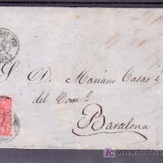 Sellos: .507 CARTA CALATAYUD(ZARAGOZA) A BARCELONA, FRANQUEO 64, FECHADOR TIPO II VARIEDAD RAYADO CUELLO +. Lote 10780301