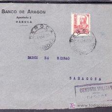 Sellos: .510 FRONTAL DAROCA(ZARAGOZA) A ZARAGOZA, FRANQUEO 823, CENSURA SIMILAR AL D-3-2 EN VIOLETA 50X21 +. Lote 10780304