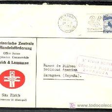 Sellos: .518 SOBRE ZURICH A ZARAGOZA, FRANQUEO SELLO SUIZA, CENSURA Z-7-7 EN VIOLETA, AL DORSO MATASELLO +. Lote 11364885