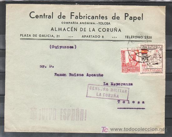 .421 SOBRE CORUÑA A TOLOSA, FRANQUEO 823 Y LOCAL 244, CENSURA C-105-5B EN VIOLETA Y MARCA PATRIOTI + (Sellos - Historia Postal - Sello Español - Sobres Circulados)