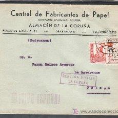 Sellos: .421 SOBRE CORUÑA A TOLOSA, FRANQUEO 823 Y LOCAL 244, CENSURA C-105-5B EN VIOLETA Y MARCA PATRIOTI +. Lote 10406643