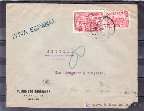 .439 SOBRE ORENSE A SEVILLA, FRANQUEO 808 Y LOCAL 531 MATASELLADO, MARCA ¡VIVA ESPAÑA! EN AZUL 55X7 (Sellos - Historia Postal - Sello Español - Sobres Circulados)
