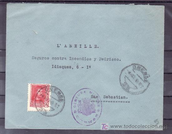 .442 SOBRE ORENSE A SAN SEBASTIAN, FRANQUEO 841, CENSURA O-16-2 EN VIOLETA, AL DORSO AUXILIO INVIE + (Sellos - Historia Postal - Sello Español - Sobres Circulados)