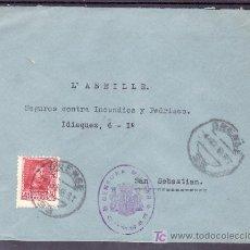 Francobolli: .442 SOBRE ORENSE A SAN SEBASTIAN, FRANQUEO 841, CENSURA O-16-2 EN VIOLETA, AL DORSO AUXILIO INVIE +. Lote 10780185