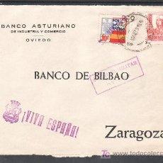 Sellos: .476 FRONTAL OVIEDO A ZARAGOZA, FRANQUEO ESTADO ESPAÑOL Y LOCAL G86 VARIEDAD GRIS MATASELLADO EN +. Lote 10780277