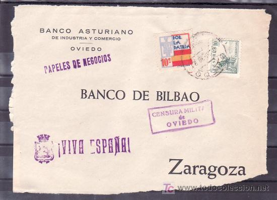 .477 FRONTAL OVIEDO A ZARAGOZA, FRANQUEO 817 Y LOCAL G86 VARIEDAD COLORES DESPLAZADOS, MATASELLO EN+ (Sellos - Historia Postal - Sello Español - Sobres Circulados)