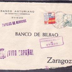 Sellos: .477 FRONTAL OVIEDO A ZARAGOZA, FRANQUEO 817 Y LOCAL G86 VARIEDAD COLORES DESPLAZADOS, MATASELLO EN+. Lote 10780278