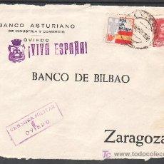 Sellos: .478 FRONTAL OVIEDO A ZARAGOZA, FRANQUEO 844 Y LOCAL G86 MATASELLADOS EN ANVERSO EN FECHA + . Lote 10780279