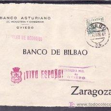 Sellos: .479 FRONTAL OVIEDO A ZARAGOZA, FRANQUEO 817, CENSURA 0-26-5B EN VIOLETA (VARIEDAD ABERTO EL LADO +. Lote 10780280