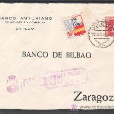 Sellos: .480 FRONTAL OVIEDO A ZARAGOZA, FRANQUEO 844 Y LOCAL G86 MATASELLADO EN ANVERSO POSTERIOR A LA +. Lote 10780281