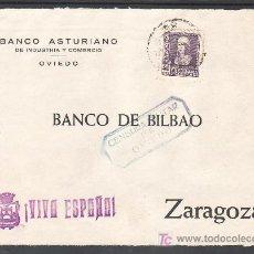 Sellos: .482 FRONTAL OVIEDO A ZARAGOZA, FRANQUEO 858, CENSURA O-26-8 EN AZUL (SIN CATALOGAR EL COLOR). Lote 10780283