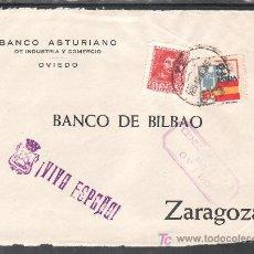 Sellos: .483 FRONTAL OVIEDO A ZARAGOZA, FRANQUEO 844 Y LOCAL G86 MATASELLADOS EN ANVERSO CON FECHA +. Lote 10780284