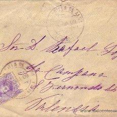 Sellos - ALFONSO XIII CADETE EN CARTA CIRCULADA 1909 DE ARGAMASILLA DE ALBA (CIUDAD REAL) A VALENCIA. - 9672224